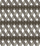 Diagonal wicker lattice seamless black and white pattern. Abstract seamless geometric black and white pattern. Diagonal wicker lattice of intersecting lines Royalty Free Stock Image