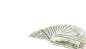 Diagonal Widespread of Money, American One Hundred Dollar Bills or Banknotes. Money, diagonal shot of american one hundred dollar bills isolated on white royalty free stock photography