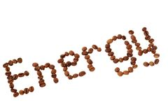 Diagonal word Energy made of coffee beans Royalty Free Stock Photos