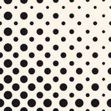 Diagonale halftone punten, cirkels vector naadloos patroon Stock Foto's