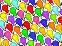 Diagonale lightbulbsachtergrond van regenboogkleuren Royalty-vrije Stock Foto