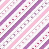 Diagonale Linien nahtloses Muster des Vektors mit Herzen stockfotografie