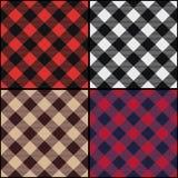 Diagonale naadloze het patroonreeks van de houthakkersplaid royalty-vrije illustratie