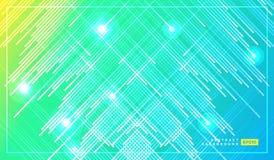 Diagonale strepen vectorlijnen die met schaduw en gloeiende lichte illustratie vallen Ruimte en sterren op donkergroene gele acht royalty-vrije illustratie