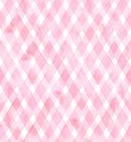 Diagonaler Gingham von rosa Farben auf weißem Hintergrund Nahtloses Muster des Aquarells für Gewebe Lizenzfreie Stockfotografie