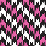 Diagonaler Jagdhund-Zahn im Rosa, Schwarzweiss Stockbild