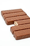 Diagonally lined up chocolate bars Royalty Free Stock Photos