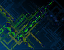Diagonalne zielone liny w zmroku - błękitny tło Zdjęcie Royalty Free