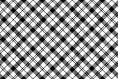 Diagonalt sömlöst för svart vit milytary tartan Royaltyfri Foto