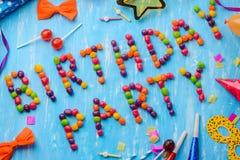 Diagonalt tecken för födelsedagparti, konfetti royaltyfri bild