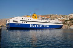 Diagoras ferry, Symi island Stock Photo