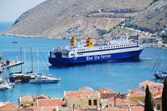 Diagoras ferry, Symi island Royalty Free Stock Photo