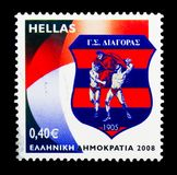 Diagoras Rhodos Sport Club (1905), Historical Football and Sport. MOSCOW, RUSSIA - MARCH 18, 2018: A stamp printed in Greece shows Diagoras Rhodos SC (1905) royalty free stock images