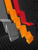 Diagram. Three falling transparent diagram arrows Stock Images