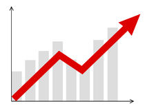 Diagram. Growth  diagram with red arrow going up Royalty Free Stock Photos
