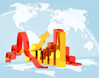 Diagram. Concept  illustration diagram growth or downfall on global world map background, concept  world economics crisis Stock Image