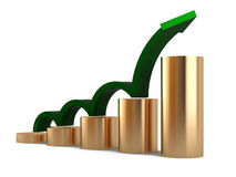 Diagram. Gold column as diagram with green arrow Stock Photography