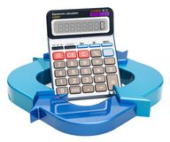 Diagram from arrows with calculator, 3D rendering. Diagram from arrows with calculator, 3D Stock Images