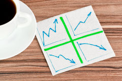 Diagram of the arrows on a napkin Royalty Free Stock Image
