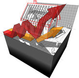 Diagram av ett hus under konstruktion med resningaffärspilar Arkivfoto