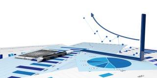Diagram av finansiell analys Fotografering för Bildbyråer