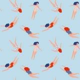 Diagram av unga flickor i baddräkter av olika nationaliteter Simningsamling seamless vektor för modell royaltyfri illustrationer