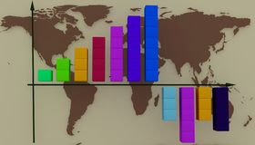 Diagram on a background the maps of the world. 3d illustration Royalty Free Stock Photos
