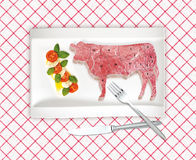 Diagram of beef cutting Stock Photography
