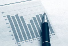 Diagram chart business with pen Stock Photo