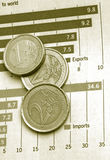 Diagram chart with coins Royalty Free Stock Image