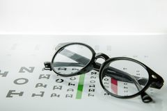 The Diagram of checking eyes  glasses Optometry medical background. stock photography