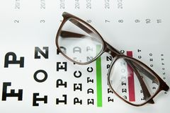 The Diagram of checking eyes  glasses Optometry medical background. royalty free stock photo