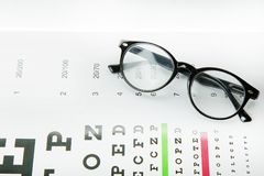 The Diagram of checking eyes  glasses Optometry medical background. stock images
