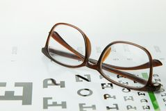 The Diagram of checking eyes  glasses Optometry medical background. stock image