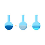 Diagram of chemical experiment which shows the reaction between two soluble compounds with a formation of precipitate. Educational chemistry for kids. Cartoon Royalty Free Stock Photos