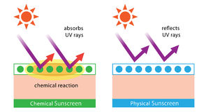 Diagram of chemical sunscreen and physical sunscreen. Physical sunscreens reflect the sun's rays. chemical sunscreens absorb UV rays in a chemical reaction Royalty Free Stock Image