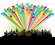Diagram city. Vector big night city with color diagram Stock Images