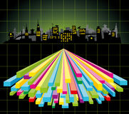 Diagram city. Vector big night city with color diagram Stock Photography