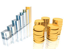 Diagram and coins Royalty Free Stock Photos