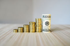 Diagram of coins and dollars Royalty Free Stock Photo