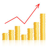 Diagram with columns of gold coins Royalty Free Stock Photo