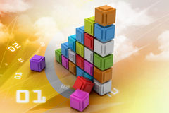 The diagram consisting of several cubes of different colours. In color background Royalty Free Stock Photos