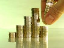 Diagram consistir en pilas de monedas imagen de archivo libre de regalías