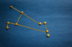 Diagram of the constellation Aries. Small yellow stars on a blue background. Zodiac constellation Aries. Top view, vignetting. The picture is made by the author stock photo