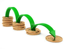 Diagram of crisis. Diagram of decreasing finances with gold coins and green arrow Stock Image