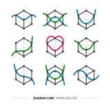 Diagram cube logo set Stock Images