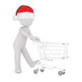diagram 3D i driftig shoppingvagn för hatt över vit royaltyfri illustrationer