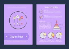 Diagram Data Business Liability Analysis Methods. Represented on violet background. Vector illustration with statistical analytics for business Royalty Free Stock Photo