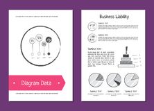 Diagram Data and Business Liability Vector Illustration. Diagram data and business liability posters depicting charts and diagrams with percentage, additional Royalty Free Stock Photography