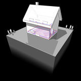Diagram of a detached  house with floor heating and radiators. Diagram of a detached  house with floor heating on the ground floor and radiators on the first Royalty Free Stock Photography
